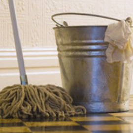 vintage cleaning bucket and mop