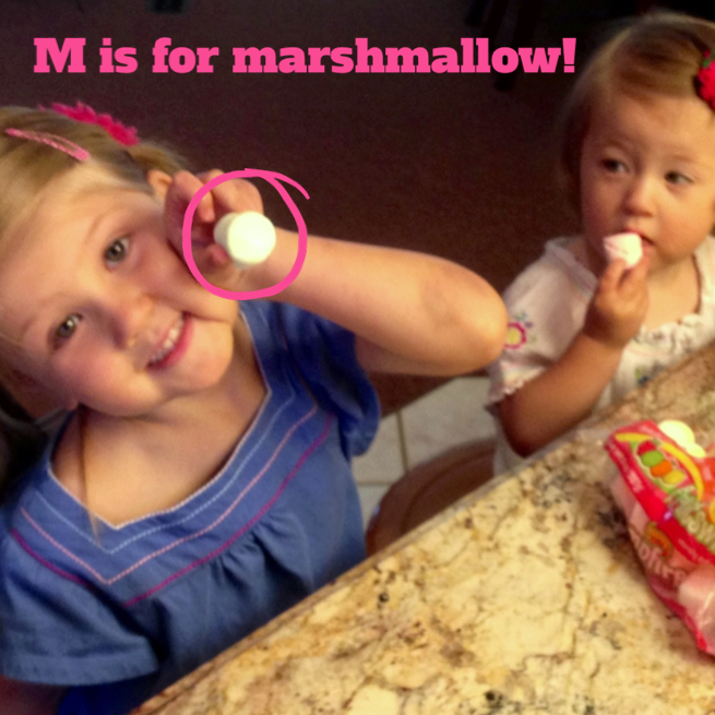 """M"" is for marshmallow!  www.mytributejournal.com"