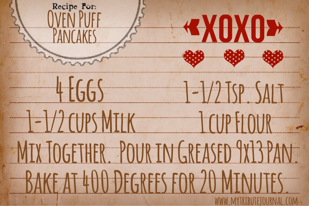 Oven Puff Pancakes! Valentine's Day breakfast www.mytributejournal.com