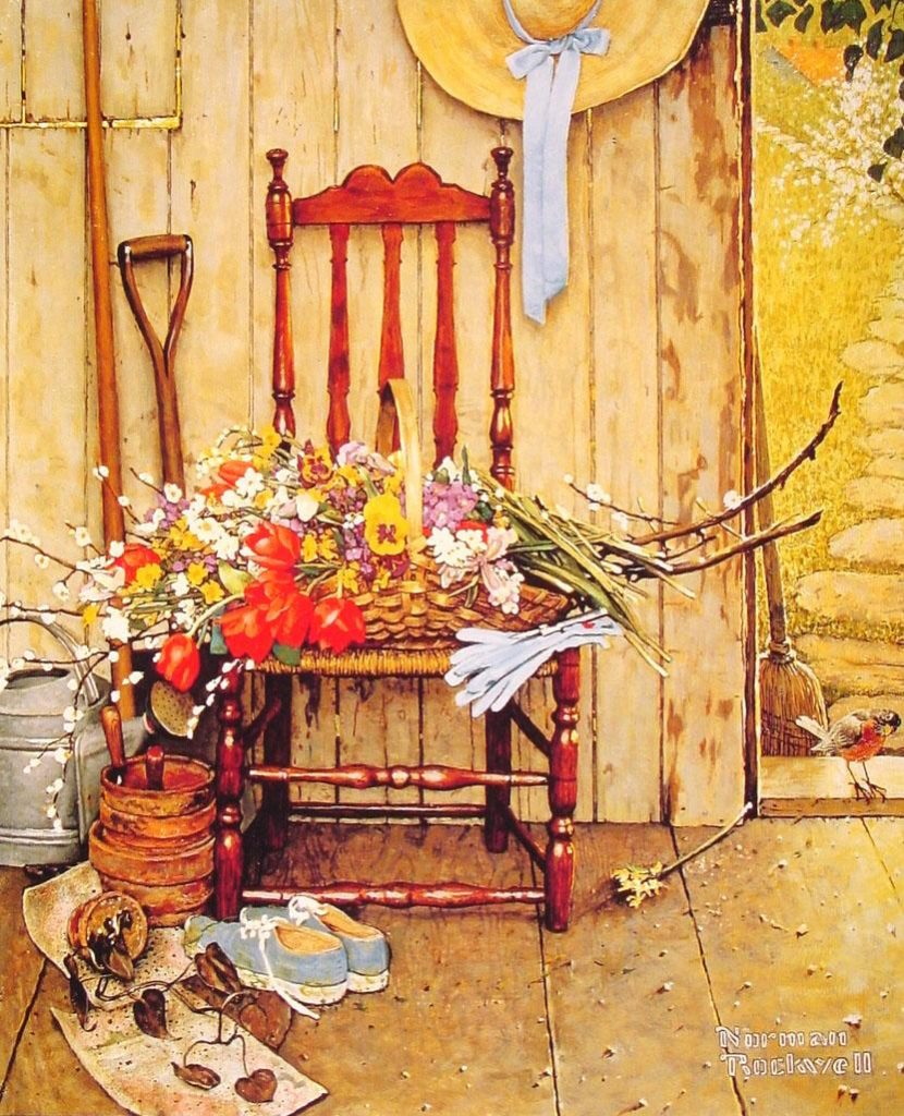 """Spring Flowers!"" by Norman Rockwell www.mytributejournal.com"