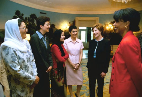 Laura Bush, Condoleza Rice advocate for Afghan women's rights.