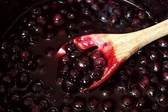 Homemade bluberry jam.