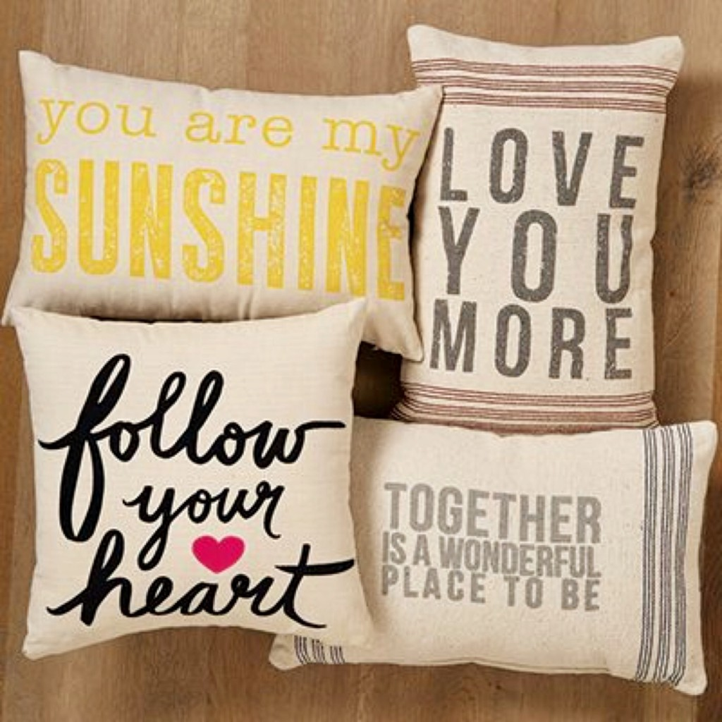 Love At Home! Flour sack pillows!