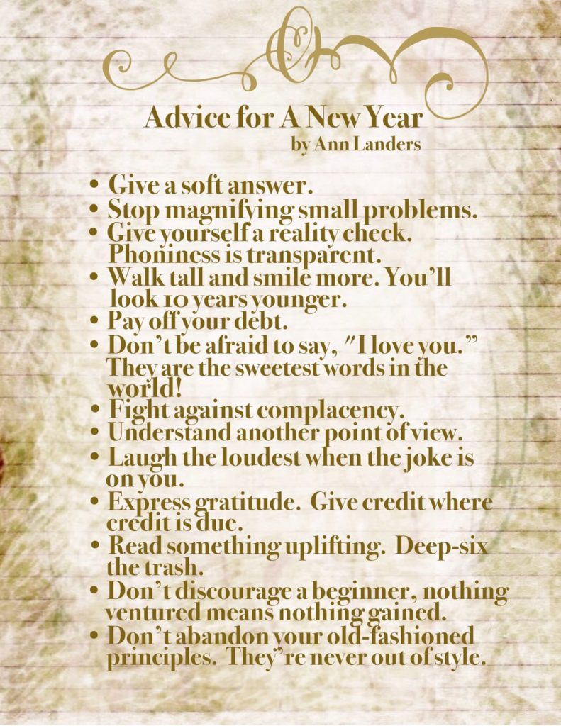 Advice For A New Year by Ann Landers
